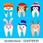cute christmas teeth characters.... | Shutterstock .eps vector #524378959