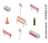set of road signs repairs... | Shutterstock .eps vector #524381119