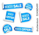 collection of winter sale and... | Shutterstock . vector #524385499