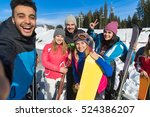 people group with snowboard and ... | Shutterstock . vector #524386207