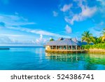 beautiful water villas in... | Shutterstock . vector #524386741