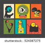 set of six retro postage s... | Shutterstock .eps vector #524387275