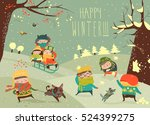 cute kids playing winter games | Shutterstock .eps vector #524399275