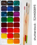 watercolors and brushes... | Shutterstock . vector #524400895