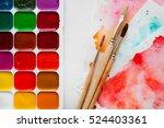 palette of watercolor paints ...   Shutterstock . vector #524403361