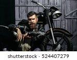 bearded man hipster biker... | Shutterstock . vector #524407279