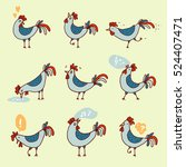 set of hand drawn rooster... | Shutterstock .eps vector #524407471