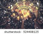 group of young people with... | Shutterstock . vector #524408125