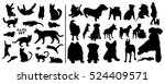 Stock vector cats and dogs silhouettes set 524409571