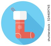christmas stocking icon . flat... | Shutterstock .eps vector #524409745