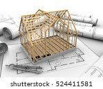 3d illustration of wooden house ... | Shutterstock . vector #524411581