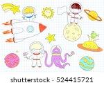 vector sketches with happy boys ... | Shutterstock .eps vector #524415721