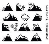 mountains  avalanche  snowslide ... | Shutterstock .eps vector #524415991