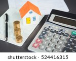 house model and coin on bank... | Shutterstock . vector #524416315