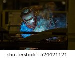 worker with protective mask... | Shutterstock . vector #524421121