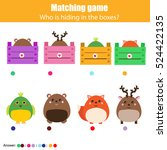 match the animals with box... | Shutterstock .eps vector #524422135