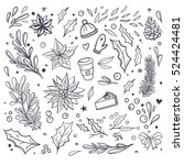set of christmas vector doodles ... | Shutterstock .eps vector #524424481