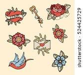 set of old school tattoos. hand ... | Shutterstock .eps vector #524425729