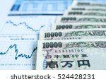 japanese yen bank note with... | Shutterstock . vector #524428231