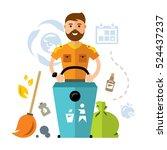 vector garbage collector. flat... | Shutterstock .eps vector #524437237