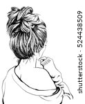 girl with messy bun  | Shutterstock .eps vector #524438509