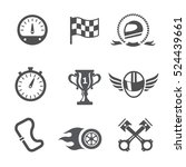 race icons set speedometer ... | Shutterstock . vector #524439661