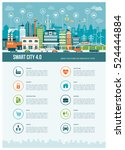smart contemporary city... | Shutterstock .eps vector #524444884