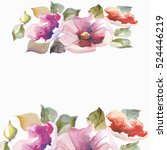 colorful watercolor flower... | Shutterstock . vector #524446219