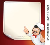 smiling cook chef show on menu... | Shutterstock .eps vector #524447005