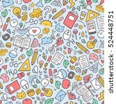 funny seamless pattern with... | Shutterstock .eps vector #524448751