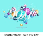 colorful christmas card with... | Shutterstock .eps vector #524449129