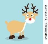 christmas reindeer in flat... | Shutterstock .eps vector #524450245