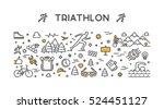vector line logo triathlon.... | Shutterstock .eps vector #524451127