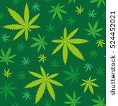 green marijuana leaves seamless ... | Shutterstock .eps vector #524452021