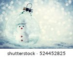 christmas glass ball with... | Shutterstock . vector #524452825