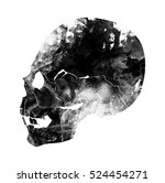 Old Abstract Skull. Digital...