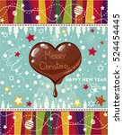 vector vintage christmas card... | Shutterstock .eps vector #524454445