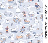 funny winter seamless pattern... | Shutterstock .eps vector #524455759