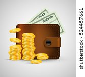leather wallet with gold coins... | Shutterstock .eps vector #524457661