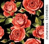 wildflower rose flower pattern... | Shutterstock . vector #524458081