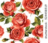 Stock photo wildflower rose flower pattern in a watercolor style isolated full name of the plant red rose 524458519