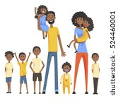 happy black family with many... | Shutterstock .eps vector #524460001