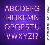 glowing neon violet alphabet....   Shutterstock .eps vector #524460634