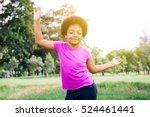 little kid dancing and... | Shutterstock . vector #524461441