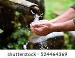 man washing hands in fresh ... | Shutterstock . vector #524464369