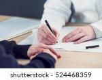 female doctor taking notes... | Shutterstock . vector #524468359