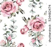 Stock photo seamless pattern with pink flowers and leaves on white background watercolor floral pattern 524482474