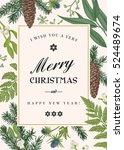vintage christmas frame. winter ... | Shutterstock .eps vector #524489674