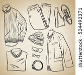 hand drawn vector clothing and... | Shutterstock .eps vector #524492371