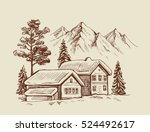wood cabin in winter landscape... | Shutterstock .eps vector #524492617